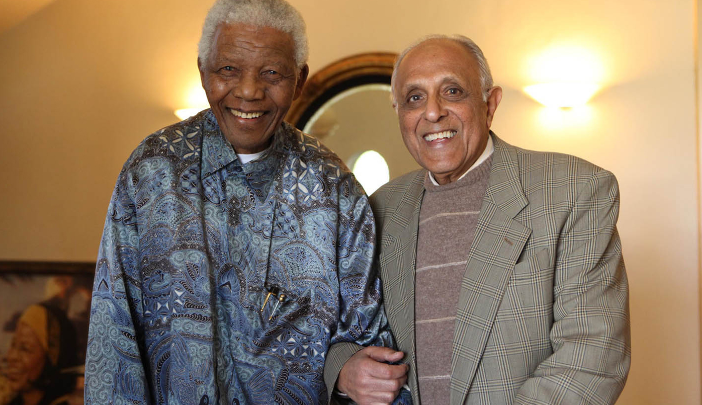 Former president Nelson Mandela joins anti-apartheid veteran Ahmed Kathrada,R, on the eve of his 80th birthday in Houghton, Johannesburg, Thursday, 20 August 2009. Kathrada, who has known Madiba for 64 years, was joined by activist turned businessman Cyril Ramaphosa, not pictured, who is also the chairperson of the Ahmed Kathrada Foundation. Picture: Debbie Yazbek/Nelson Mandela Foundation
