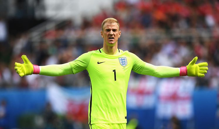 LENS, FRANCE - JUNE 16: Joe Hart of England gestures during the UEFA EURO 2016 Group B match between England and Wales at Stade Bollaert-Delelis on June 16, 2016 in Lens, France.  (Photo by Matthias Hangst/Getty Images)